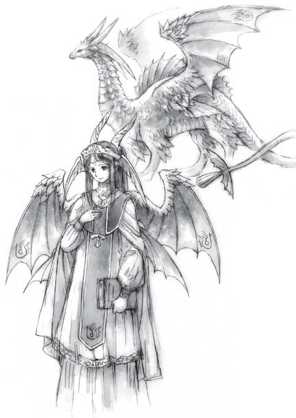 Image of a blue dragon in dragon and human form